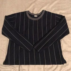 Zara Vertical Stripe Navy and Grey Crewneck